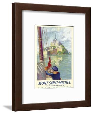 Mont Saint-Michel - Normandy, France -French National Railroads-David Starr-Framed Art Print