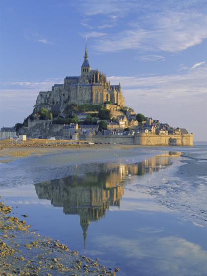 Mont St. Michel (Mont Saint-Michel) Reflected in Water, Manche, Normandy, France, Europe-Ruth Tomlinson-Photographic Print