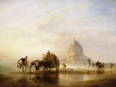 Mont St. Michel, Peasants returning to Pontorson on the approach of the Tide-Edward William		 Cooke-Giclee Print
