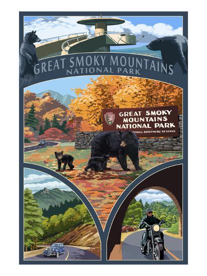 Montage - Great Smoky Mountains National Park, TN-Lantern Press-Art Print