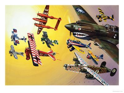 Montage of Aircraft with Colourful Markings-Wilf Hardy-Giclee Print