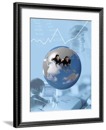 Montage of Businessmen in Globe Representing International Finance--Framed Photographic Print