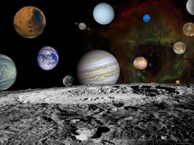 Montage of Images Taken by the Voyager Spacecraft-Stocktrek Images-Photographic Print