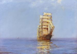 Evening Gold - The 'Antiope' by Montague Dawson