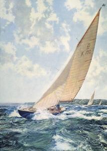 HM Queen Elizabeth's Yacht by Montague Dawson