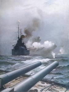 "In a Naval Engagement off Heligoland the ""Lion"" Sinks a German Cruiser by Montague Dawson"