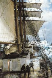 The Rising Wind on Deck Aboard by Montague Dawson
