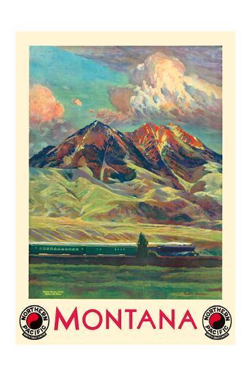 Montana - Absaroka Mountains - North Coast Limited - Northern Pacific Railway-Gustav Wilhelm Krollmann-Premium Giclee Print