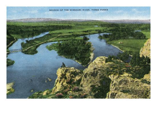 Montana - Aerial View of the Source of the Missouri River, Three Forks, c.1922-Lantern Press-Art Print