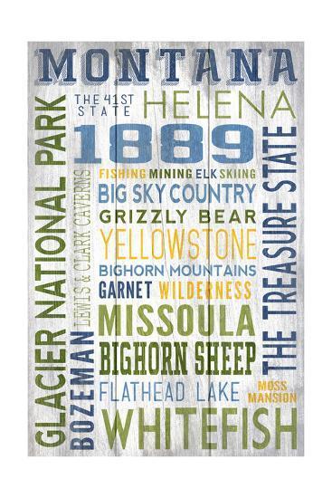 Montana - Barnwood Typography-Lantern Press-Art Print
