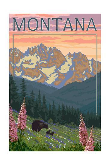 Montana - Bear Family and Spring Flowers-Lantern Press-Art Print