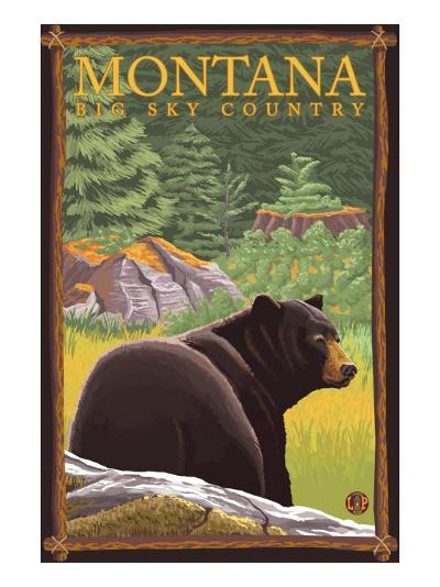 Montana, Big Sky Country, Black Bear in Forest-Lantern Press-Art Print
