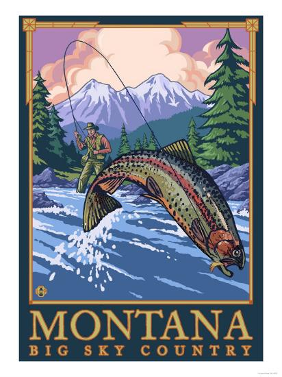 Montana -- Big Sky Country - Fly Fishing Scene-Lantern Press-Art Print