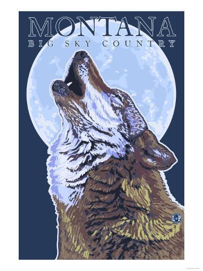Montana -- Big Sky Country - Howling Wolf-Lantern Press-Art Print