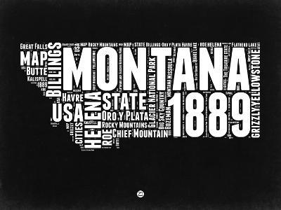 Montana Black and White Map-NaxArt-Art Print