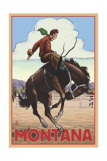 Montana - Cowboy and Bronco Scene-Lantern Press-Art Print