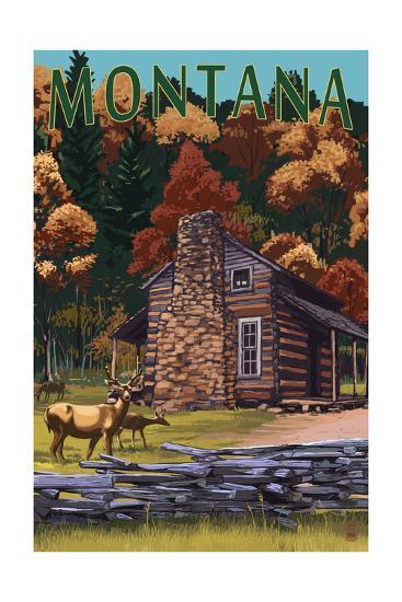 Montana - Deer Family and Cabin Scene-Lantern Press-Art Print