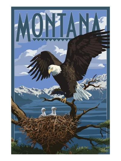 Montana - Eagle Perched with Chicks-Lantern Press-Art Print