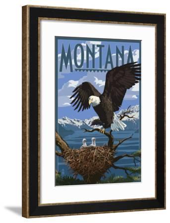 Montana - Eagle Perched with Chicks-Lantern Press-Framed Art Print