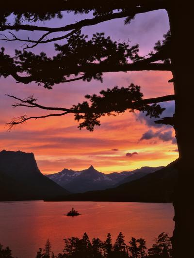 Montana, Glacier NP. St Mary Lake and Wild Goose Island at Sunset-Steve Terrill-Photographic Print