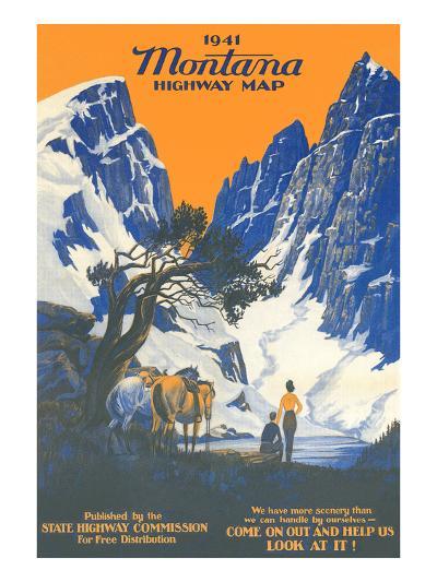 Montana Highway Map--Art Print