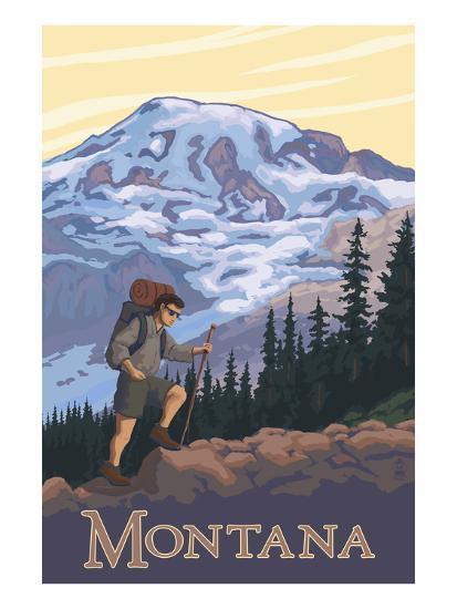 Montana - Hiking Scene-Lantern Press-Art Print