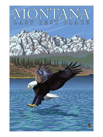 Montana, Last Best Place, Eagle Fishing-Lantern Press-Art Print