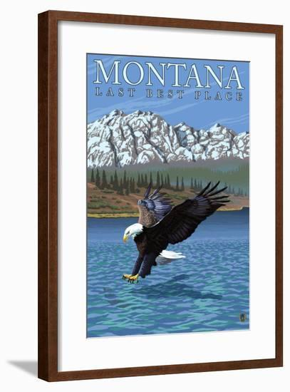 Montana, Last Best Place, Eagle Fishing-Lantern Press-Framed Art Print