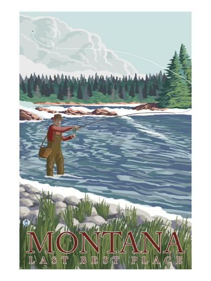 Montana, Last Best Place, Fly Fisherman-Lantern Press-Art Print
