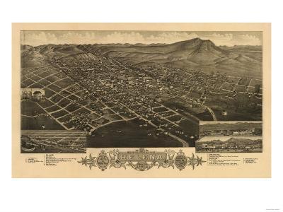 Montana - Panoramic Map of Helena No. 2-Lantern Press-Art Print