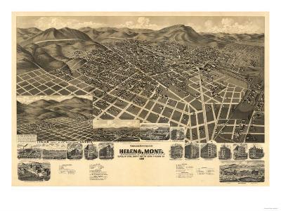 Montana - Panoramic Map of Helena No. 3-Lantern Press-Art Print