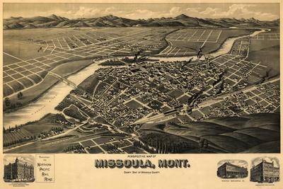 Montana - Panoramic Map of Missoula No. 2-Lantern Press-Stretched Canvas Print