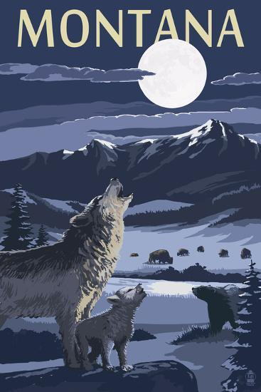 Montana - Valley Scene at Night with Wolves-Lantern Press-Wall Mural