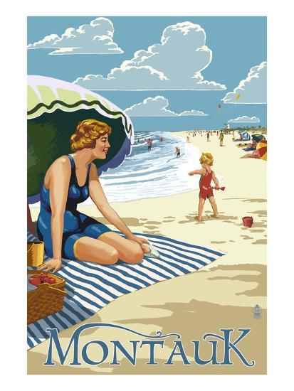 Montauk, New York - Beach Scene-Lantern Press-Art Print