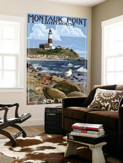 Montauk Point Lighthouse - New York-Lantern Press-Wall Mural
