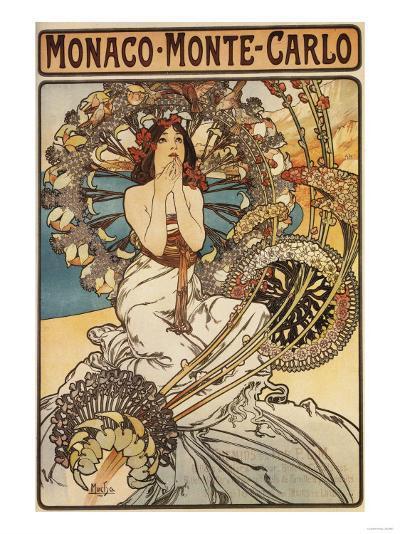 Monte Carlo, Monaco - Woman with Feathers-Lantern Press-Art Print