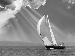 Sailing under sunbeams, L'Anse Bay, Michigan '13 by Monte Nagler