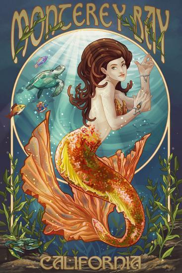 Monterey Bay, California - Mermaid-Lantern Press-Wall Mural