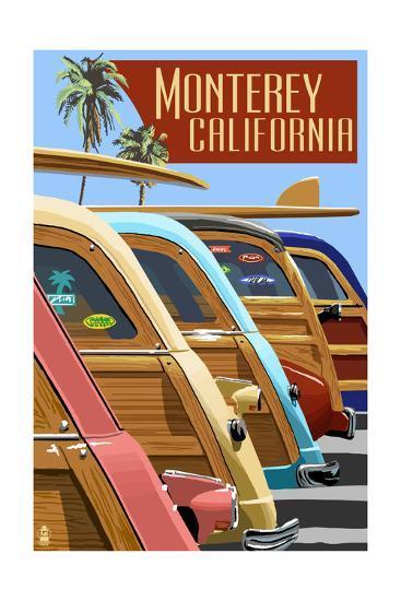 Monterey, California - Woodies Lined Up-Lantern Press-Art Print