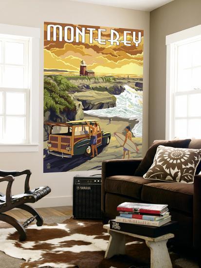 Monterey, California - Woody on Beach-Lantern Press-Wall Mural