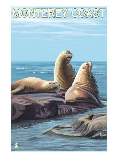 Monterey Coast, California - Sea Lions, c.2009-Lantern Press-Art Print