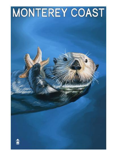 Monterey Coast, California - Sea Otter, c.2009-Lantern Press-Art Print