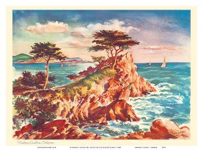 Monterey Coastline, California - United Air Lines Calendar Page-Joseph Feh?r-Art Print