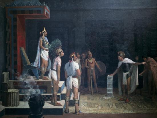 Montezuma Receives the Messengers-Adrian Unzueta-Art Print