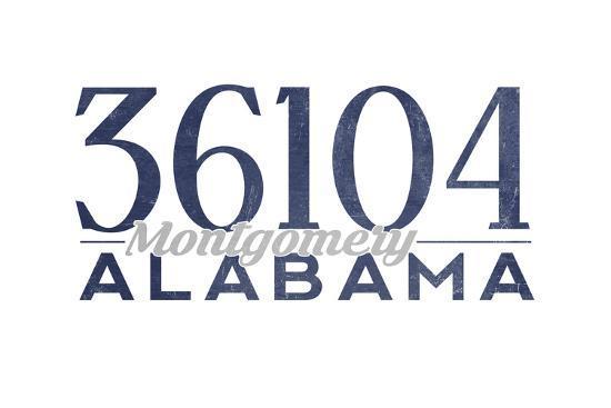 Montgomery, Alabama - 36104 Zip Code (Blue)-Lantern Press-Art Print