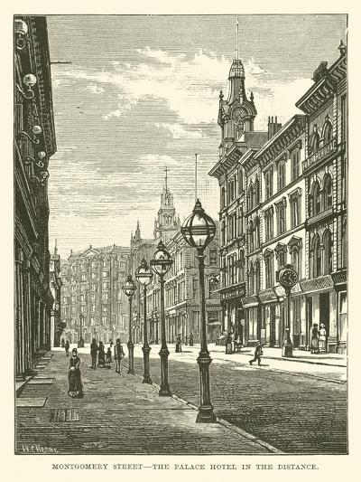 Montgomery Street, the Palace Hotel in the Distance--Giclee Print