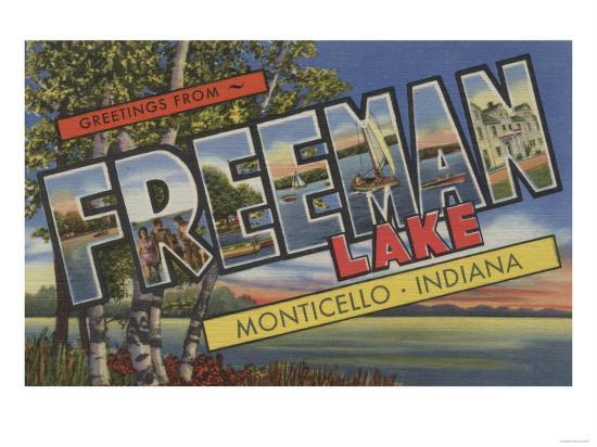 Monticello, Indiana - Freeman Lake-Lantern Press-Art Print