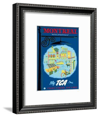 Montreal, Canada - The Paris of North America - Fly TCA (Trans-Canada Air Lines)-Jacques Le Flaguais-Framed Art Print