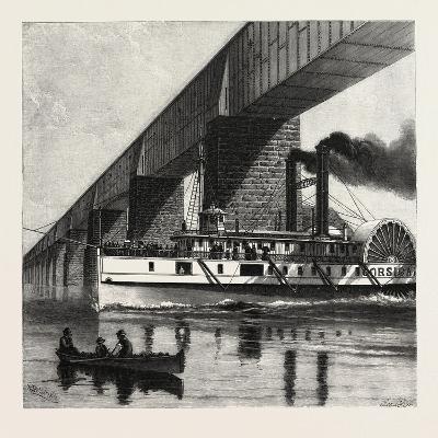 Montreal, Mail Steamer Passing under Victoria Bridge, Canada, Nineteenth Century--Giclee Print