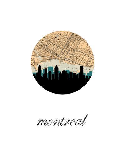 Montreal Map Skyline--Art Print